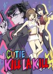 3girls aki_natsuko aki_natsuko_(cosplay) bespectacled black_hair brown_hair choker cosom cosplay cutie_honey cutie_honey_(character) cutie_honey_(cosplay) food glasses gun hairband handgun kill_la_kill kiryuuin_satsuki kisaragi_honey kisaragi_honey_(cosplay) mankanshoku_mako matoi_ryuuko midriff multiple_girls navel onigiri ponytail re:_cutie_honey skirt sword weapon
