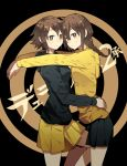 2girls braid brown_eyes brown_hair durarara!! highres hug long_hair luo. multiple_girls orihara_kururi orihara_mairu short_hair siblings sisters
