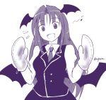 1girl bat_wings fang head_wings koakuma long_hair musical_note necktie oven_mitts smile solo taurine_8000mg touhou twitter_username wings