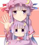 2girls :< capelet chibi crescent crescent_hair_ornament dual_persona hair_ornament long_sleeves mob_cap multiple_girls no_hat patchouli_knowledge purple_hair ram_hachimin smile touhou violet_eyes waving wide_sleeves