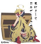 ahoge ass blonde_hair blue_eyes boots cape doronjo from_behind gloves high_heel_boots high_heels knee_boots kneeling leopard_(yatterman) leotard long_hair looking_back mask open_mouth thigh-highs thigh_strap time_bokan_(series) treasure_chest very_long_hair yatterman yoru_no_yatterman