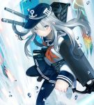 1girl anchor blue_eyes hat hibiki_(kantai_collection) highres kantai_collection kimijima0301 long_hair silver_hair turret uniform
