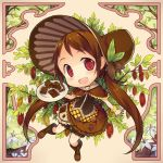 1girl :d brown_eyes brown_hair cacao_fruit chibi chocolate_bar fred04142 hair_ribbon hairband lolita_hairband long_hair looking_at_viewer open_mouth original ribbon smile solo twintails