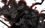 akagi_(kantai_collection) akebono_(kantai_collection) armor bow_(weapon) crossover dotanuki_masakuni_(touken_ranbu) hairband japanese_clothes kantai_collection kashu_kiyomitsu_(touken_ranbu) kongou_(kantai_collection) long_hair mikazuki_munechika_(touken_ranbu) monochrome nontraditional_miko owannu ponytail scar sword torn_clothes touken_ranbu weapon