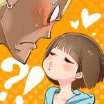 !? 1boy 1girl ariorihaberi blush bob_cut brown_hair closed_eyes gamagoori_ira heart incipient_kiss kill_la_kill mankanshoku_mako short_hair sweat