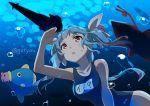 1girl blue_hair female fish gochou_(atemonai_heya) hair_ribbon i-19_(kantai_collection) kantai_collection kine_(kirby) kirby kirby_(series) ribbon school_swimsuit swimsuit twintails underwater
