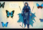 blood blue_eyes brown_hair butterfly cape highres hood hooded_cloak jace_beleren magic:_the_gathering male_focus nostrils nuuun open_eyes pin pinned solo