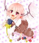 1girl ahoge animal_ears bird_wings bobby_socks collarbone collared_shirt crossover dress fang from_above headphones kirby kirby_(series) loafers looking_at_viewer microphone mystia_lorelei open_mouth pink_hair shiron_(e1na1e2lu2ne3ru3) shoes short_hair singing socks touhou violet_eyes winged_hat