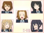 akiyama_mio black_hair blonde_hair brown_hair closed_eyes face hirasawa_yui ikari_manatsu k-on! kotobuki_tsumugi long_hair multiple_girls nakano_azusa school_uniform short_hair smile tainaka_ritsu
