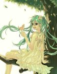 1girl absurdres bird dress flower green_eyes green_hair hair_flower hair_ornament hatsune_miku highres in_tree long_hair open_mouth run_(sweettimehappy) sitting sitting_in_tree solo tree twintails vocaloid
