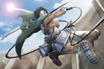 1boy 3dmg black_eyes black_hair boots cable cape jacket rivaille shingeki_no_kyojin solo sun sword umenobonsai wall weapon