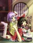 asymmetrical_clothes bad_id barefoot brown_hair detached_sleeves feet flower foot_tickling hakurei_reimu hidebo hieda_no_akyuu japanese_clothes miko multiple_girls one_thighhigh purple_eyes purple_hair ribbon short_hair single_thighhigh thighhighs tickling touhou violet_eyes wink