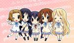 5girls akiyama_mio blush_stickers chibi closed_eyes hand_holding hirasawa_yui holding_hands k-on! kotobuki_tsumugi multiple_girls musical_note nakano_azusa paco poke poking school_uniform smile sweater_vest tainaka_ritsu v wink