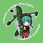 airplane chibi commentary_request green_background green_eyes green_hair hair_ribbon jet kagiyama_hina long_hair ribbon sakurato_tsuguhi simple_background touhou triebfluegel