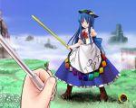 bad_id blue_hair flower food fruit hat hinanawi_tenshi kazami_yuuka long_hair peach pov red_eyes sunflower sword sword_of_hisou touhou umbrella weapon