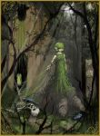 absurdres dark forest green_hair hair_over_eyes highres instrument link master_sword nature ocarina ocarina_of_time overgrown pointy_ears saria shield skeleton sunbeam sword th01 the_legend_of_zelda tree tree_stump triforce vines weapon