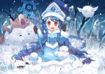 1girl :d blue_hair braid coat fred04142 hat league_of_legends long_hair looking_at_viewer lulu_(league_of_legends) open_mouth red_eyes sitting smile solo staff twin_braids wariza winter_clothes winter_coat witch_hat