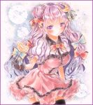 1girl alternate_costume black_legwear blush border bow breasts candy colored_pencil_(medium) crescent_hair_ornament double_bun dress flower frilled_dress frills gloves gradient gradient_background hair_ornament hair_ribbon hoppesatou layered_dress leaning_forward lollipop long_hair looking_at_viewer marker_(medium) no_hat orange_rose patchouli_knowledge puffy_short_sleeves puffy_sleeves purple_hair ribbon rose short_sleeves smile solo swirl_lollipop thigh-highs touhou traditional_media tress_ribbon very_long_hair violet_eyes watercolor_(medium)