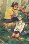 2boys absurdres alternate_costume alternate_hairstyle blue_hair brown_hair crossed_legs dramatical_murder feathers forest hair_feathers highres honya_lala log mink_(dramatical_murder) multiple_boys nature official_art scan seragaki_aoba sitting smile squirrel tree