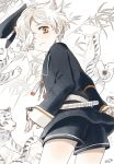 1boy from_behind gokotai_(touken_ranbu) hair_over_one_eye hat hat_removed headwear_removed looking_at_viewer looking_back male_focus military military_uniform mizuhara_aki peaked_cap sheath sheathed short_hair shorts solo tantou tiger tiger_cub touken_ranbu uniform white_hair white_tiger yellow_eyes