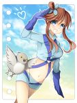 1girl :o blue_eyes breasts brown_hair fuuro_(pokemon) gloves gym_leader hair_ornament kuran_(mkmrl) large_breasts long_hair looking_at_viewer midriff navel outdoors pidove pokemon pokemon_(game) pokemon_bw pokemon_special redhead salute smile