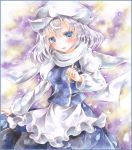 1girl apron blue_eyes blush border colored_pencil_(medium) gradient gradient_background hat hoppesatou juliet_sleeves letty_whiterock long_sleeves looking_at_viewer marker_(medium) open_mouth pin puffy_sleeves raised_hand scarf short_hair silver_hair skirt skirt_set solo touhou traditional_media waist_apron watercolor_(medium)