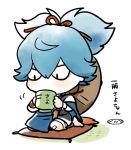 1boy blue_hair chibi hat male_focus mizuhara_aki sayo_samonji simple_background sitting solo touken_ranbu white_background yunomi