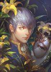 1boy blue_eyes cdash817 cravat flower holding_mask ishida_mitsunari_(sengoku_basara) realistic sengoku_basara silver_hair solo