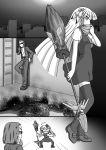 1boy 1girl anger_vein broom cityscape comic corpse dress elza_straherz highres jacket long_hair monochrome night open_clothes open_jacket original pants rakurakutei_ramen scarf shirt silent_comic sunglasses thigh-highs very_long_hair zettai_ryouiki