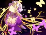 1girl black_background blonde_hair breasts choker cleavage dress ears elbow_gloves eyebrows gap gloves glowing glowing_butterfly gradient gradient_background hat hat_ribbon katakonpe long_hair long_neck looking_at_viewer looking_to_the_side mob_cap nose parted_lips puffy_short_sleeves puffy_sleeves purple_background purple_dress red_eyes ribbon ribbon_choker short_sleeves solo touhou very_long_hair violet_eyes white_gloves yakumo_yukari