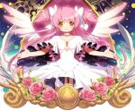 1girl bow chocker dress flower goddess_madoka hair_bow kaname_madoka long_hair looking_at_viewer matsuki_ringo pink_hair pink_rose rose smile solo soul_gem spoilers two_side_up white_dress wings yellow_eyes