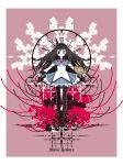 1girl akemi_homura black_hair card character_name clock hairband highres long_hair magical_girl mahou_shoujo_madoka_magica meme_(artist) pantyhose playing_card solo violet_eyes