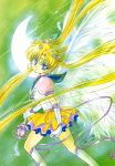 1997 90s bishoujo_senshi_sailor_moon blonde_hair blue_eyes eternal_sailor_moon eternal_tiare feathers highres marker_(medium) sailor_moon traditional_media tsukino_usagi