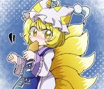 !! 1girl aburaage arms_up blonde_hair blue_background blush chibi clenched_hands commentary_request dress eyebrows_visible_through_hair food food_in_mouth fox_tail gradient gradient_background hair_between_eyes hat hat_with_ears katanagi1129 long_sleeves looking_at_viewer multiple_tails ofuda polka_dot polka_dot_background short_hair solo surprised sweat tabard tail tassel touhou upper_body white_dress yakumo_ran yellow_eyes