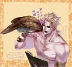 1boy bird birthmark black_lipstick blonde_hair book dio_brando falcon heart joestar_birthmark jojo_no_kimyou_na_bouken lipstick makeup pet_shop shirtless star taburakashi