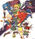6+boys :d baseball_cap black_hair blonde_hair blue_eyes blue_hair boots cape fingerless_gloves fire_emblem fire_emblem:_monshou_no_nazo fire_emblem:_souen_no_kiseki gloves hat headband hookshot ike link lucas marth mother_(game) mother_2 mother_3 multiple_boys ness nikayu open_mouth outstretched_leg scabbard sheath shield shorts smile solid_oval_eyes super_smash_bros. sword the_legend_of_zelda tiara toon_link translation_request tunic twilight_princess weapon wind_waker yo-yo