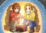 2girls boots brown_eyes brown_hair chopsticks dresstrip food hirasawa_yui jacket k-on! mitten mochi multiple_girls quinzhee short_hair snow_shelter tainaka_ritsu wagashi winter_clothes