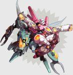 1boy 1girl arcee back-to-back dual_wielding gun mecha no_humans robot science_fiction shishio transformers weapon whirl