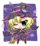 >;d 1girl bird blonde_hair broom chibi deathsmiles fingerless_gloves gloves green_eyes hat holding looking_at_viewer noai_nioshi pointing pointing_at_viewer sakura_(deathsmiles) short_hair witch_hat