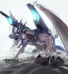 bolmeteus_steel_dragon claws dragon duel_masters glowing glowing_eyes greatmosu highres open_mouth roaring sharp_teeth sketch teeth yellow_eyes