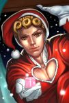 1boy blonde_hair gift giorno_giovanna gloves hat jojo_no_kimyou_na_bouken looking_at_viewer outstretched_hand s_a_k_u santa_costume santa_hat solo yellow_eyes