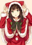 1girl akiyama_mio animal_ears black_hair capelet fake_animal_ears green_eyes k-on! long_hair paw_pose santa_costume solo yuzuki_karu