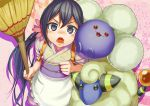 1girl akebono_(kantai_collection) apron bell broom dustpan floral_print flower from_above hair_bell hair_flower hair_ornament japanese_clothes jumpluff kantai_collection kimono long_hair looking_at_viewer mareep pokemon pokemon_(creature) pokemon_(game) purple_hair seramikku short_kimono side_ponytail tasuki very_long_hair violet_eyes wa_maid