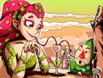 clouds cloudy_sky colored_eyelashes great_fairy hat link nail_polish ocarina_of_time orange_eyes pink_hair princess_zelda red_eyes setz sky straw the_legend_of_zelda tingle zelda_musou