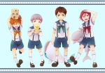 4boys black_hair blue_eyes child fang free! grey_hair male_focus matsuoka_rin mikoshiba_momotarou mole multiple_boys nitori_aiichirou one_eye_closed open_mouth orange_hair red_eyes redhead ronisuke sailor short_hair smile socks stuffed_animal stuffed_duck stuffed_otter stuffed_shark stuffed_toy stuffed_whale white_legwear yamazaki_sousuke yellow_eyes younger