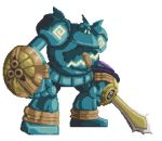 aegislash animated animated_gif golurk no_humans pokemon pokemon_(creature) shield sword weapon