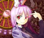 1girl animal_ears bust glowing glowing_eye long_hair long_sleeves moyazo necktie pointing pointing_at_self purple_hair rabbit_ears red_eyes reisen_udongein_inaba smile solo suit_jacket touhou uneven_eyes