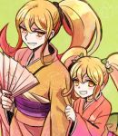 2girls blonde_hair blush_stickers bow cat_hair_ornament dangan_ronpa dual_persona fan female folding_fan grin hair_bow hair_ornament japanese_clothes kimono long_hair multiple_girls obi okuragon older saionji_hiyoko sash side_ponytail smile super_dangan_ronpa_2 time_paradox twintails yellow_eyes