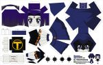1girl absurdres artist_name character_name chibi cloak dc_comics el_joey facial_mark forehead_mark grey_skin highres paper_cut-out papercraft purple_hair raven_(dc) solo teen_titans violet_eyes watermark web_address