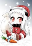 1girl alternate_costume blush boots bow carrot commentary_request covered_mouth hat horns kantai_collection long_hair looking_at_viewer mittens northern_ocean_hime pale_skin red_eyes ribbon santa_costume santa_hat shinkaisei-kan sitting snowing solo white_hair yamato_nadeshiko